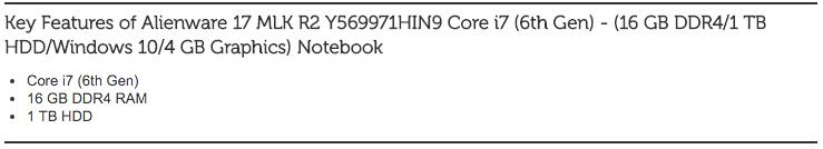 Alienware 17 MLK R2 Y569971HIN9 Core i7