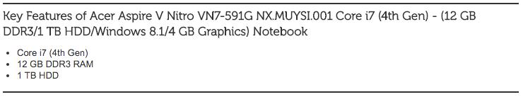 Acer Aspire V Nitro VN7-591G NX.MUYSI.001 Core i7 (4th Gen)